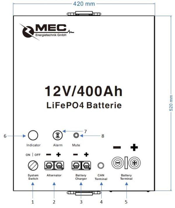 MEC LiFePO4 Battery Pack 12V/400Ah Marine Use